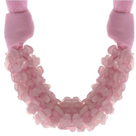 Genuine Rose Quartz Stone Chip Pink Organza Necklace 18?