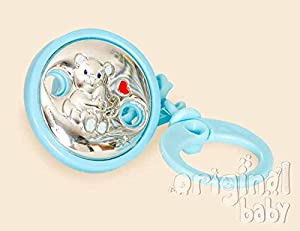 Pinza para Chupete Bilaminado Plata Oso Azul marca Babyline