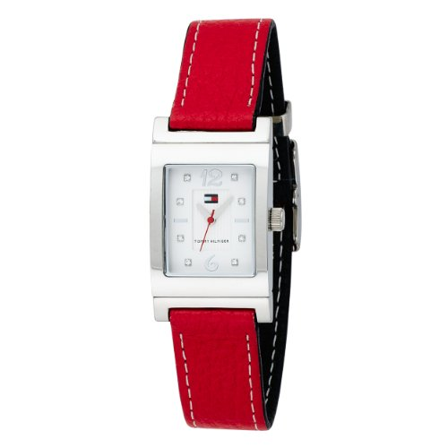 Tommy Hilfiger Women&#8217;s 1780565 Crystal Reversible Red And Navy Leather Strap Watch