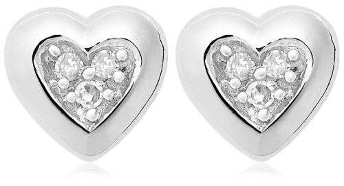 Click to buy Diamond Stud Heart Earrings: 10K White Gold Diamond Heart Earrings from Amazon!