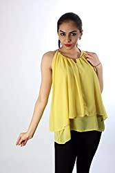 Yellow Georgette Chain Top