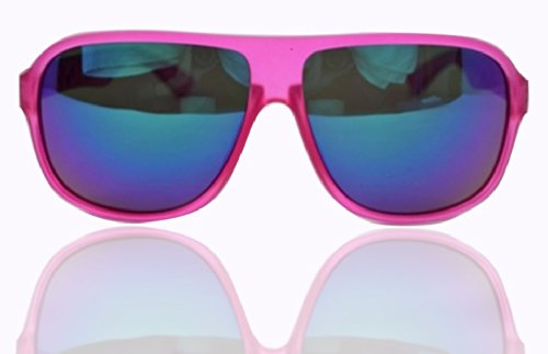 "90210 CALIFORNIA ""SoCal Beach Margerita Mania"" Rose-Deep-Pink And Cool-Blue Aviator Sunglasses"