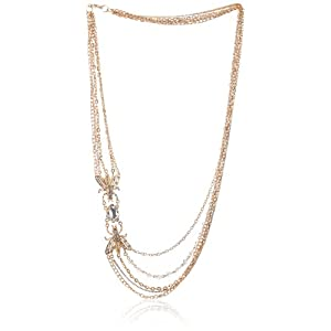Vintage Inspired Long Multi-Row and Asymmetrical Insect and Crystal Chain Necklace, 30