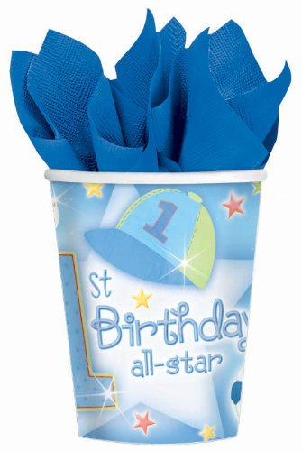 1st Birthday Boy 'All-Star' 9oz Paper Cups (18ct)
