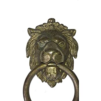 "Bosetti Marella 100977.03 Lion Door Knocker, Distressed Antique Brass, 7.5"" x 4.3"""