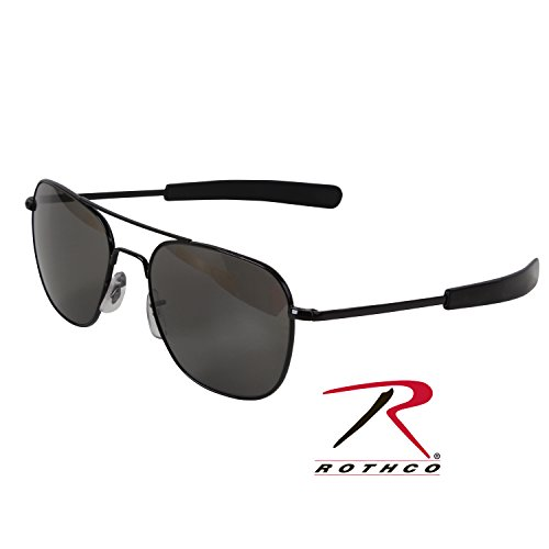 American Optical Original Pilot Eyewear 55mm Black Frame with Bayonet Temples and True Color Gray Glass Lens