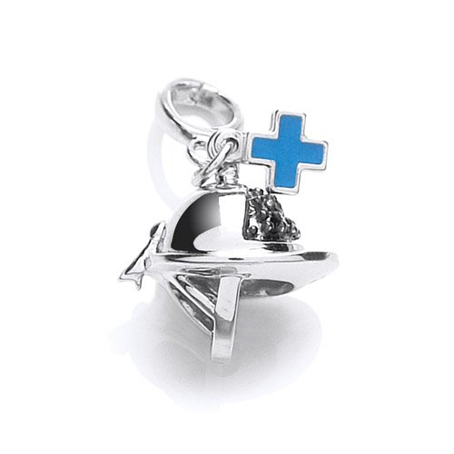 The Blue Cross Animal Charity Silver Riding Hat Charm with Black Cubic Zirconias and Blue Enamel Blue Cross Tag