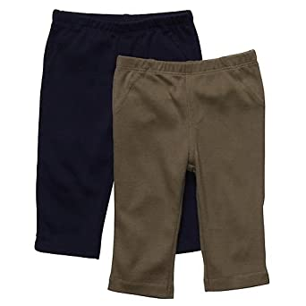 Carters Boys Newborn-12 Months 2-Pack Pants (12 Months, Navy/Olive)