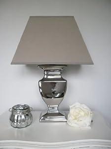 tischleuchte tisch lampe leuchte 45 cm silber schirm grau beige shabby landhaus. Black Bedroom Furniture Sets. Home Design Ideas