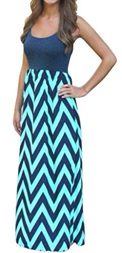Cashsun Women Chevron Boho Summer Long Skirt Evening Party Dress, Navy XL