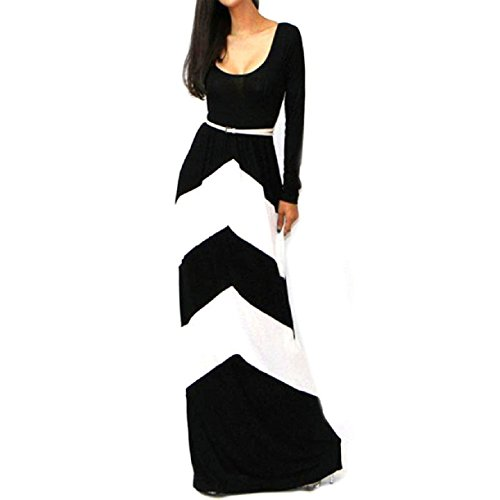 Sannysis(Tm) Slim Sexy Long Sleeve Long Maxi Evening Party Dress (4-6, White)