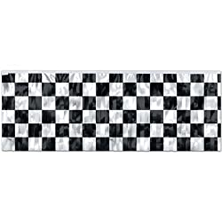 Beistle 55486 Flame Resistant Metallic Checkered Fringe Banner, 14 By 4 Feet