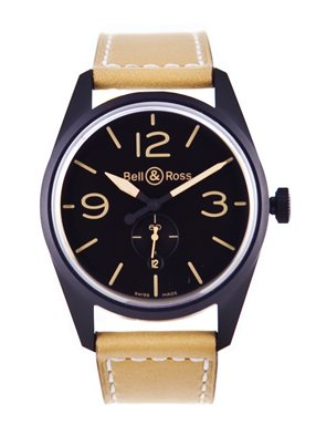 Bell & Ross Men's BR123-HERITAGE Vintage Black Dial and Brown Strap Watch