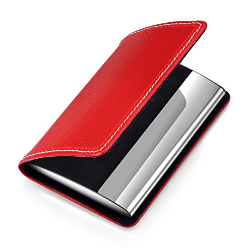Business card holder red professional leather business gift card holder colourmoves