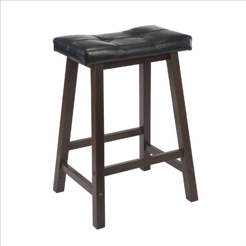 Winsome Wood Mona 24-Inch Cushion Saddle Seat Stool, Black Faux Leather, Wood Legs, Rta
