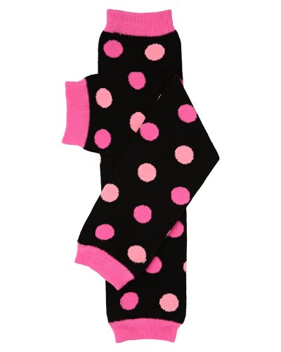 Black & Pink Polka Dots Baby Leg Warmers For Girls By Judanzy