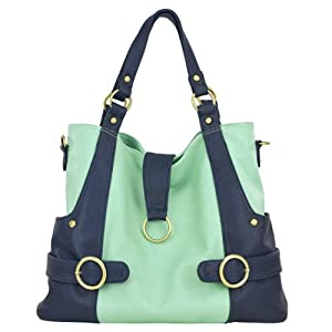 timi & leslie Hannah Pastel 7-Piece Diaper Bag Set, Mint/Navy