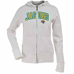 Jacksonville Jaguars Applique Ladies Zip Front Hoody Sweatshirt (White) by Antigua