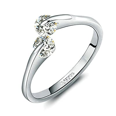 Yoursfs 18k White Gold Plated Emulational Diamond Bridal Wedding Ring