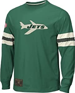 Reebok New York Jets Logo Long Sleeve Embroidered Throwback Shirt (XXL=52)