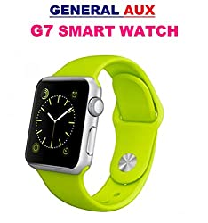 General Aux G7 Bluetooth 4.0 Smart Watch Phone SIM Gear Smartwatch Heart Rate Monitor Call SMS Reminder Camera - Green Silver