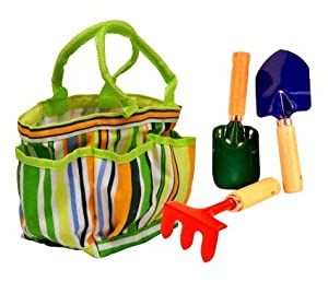 G & F 10051 JustForKids Water Pail with Tool Set and Glove, Blue by Work Gloves Depot