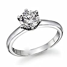 buy 1/5 Carat Diamond Solitaire Engagement Ring In Plat-950 Platinum 6 Prong (Sizes 4-9) With Free Premium Black Ring Box ( J-K , Vs1-Vs2 , 0.2 C.T.W)