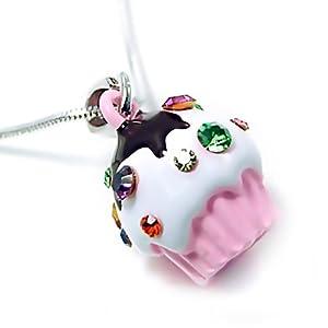 Light Pink Cupcake Birthday Charm Necklace