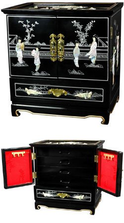 """Great Deal Most Beautiful Best Quality - 16"""" Empress Fine Lacquer Jewelry Chest Box Case - Black"""