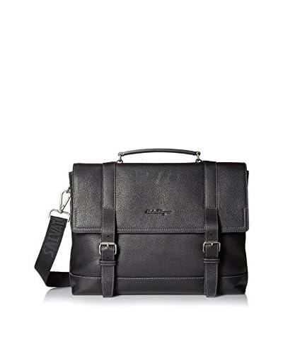 Salvatore Ferragamo Men's Large Grainy Leather Briefcase, Black