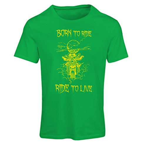 N4690F T-shirt female Born To Ride! motorcycle clothing (Medium Verde Multicolore)
