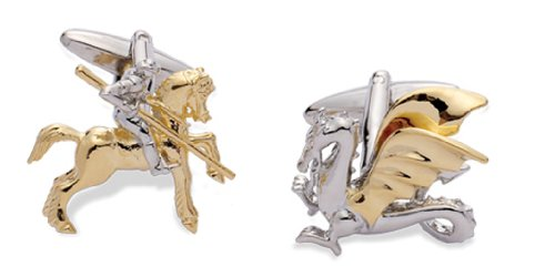 Code Red Base Metal Rhodium Plated Cufflinks With Gold Colour