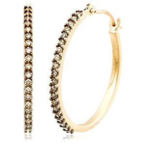 Click to buy Chocolate Diamonds: 14K Yellow Gold Brown Diamond Hoop Earrings from Amazon!