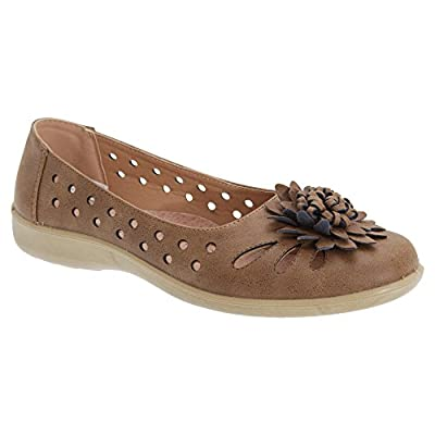 Boulevard Womens/Ladies Punched Floral Summer Casual Shoes