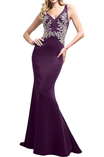 Vienna-Bride-Sexy-V-Neck-Double-Shoulders-Mermaid-Satin-Formal-Gown-Prom-Dress-22W-Violet