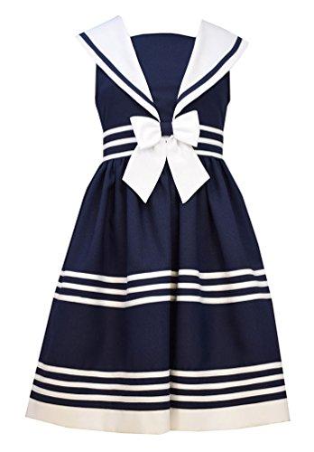 Bonnie Jean Big Girls' Navy White Triple Stripe Sailor Nautical Dress (8) Nautical Stripe Dress