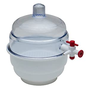 Bel-Art Scienceware F42025 Polypropylene Bottom Space Saver Vacuum Desiccator, 24cm ID, 27.3cm Flange OD, 31.1cm Height, 23cm Plate Size