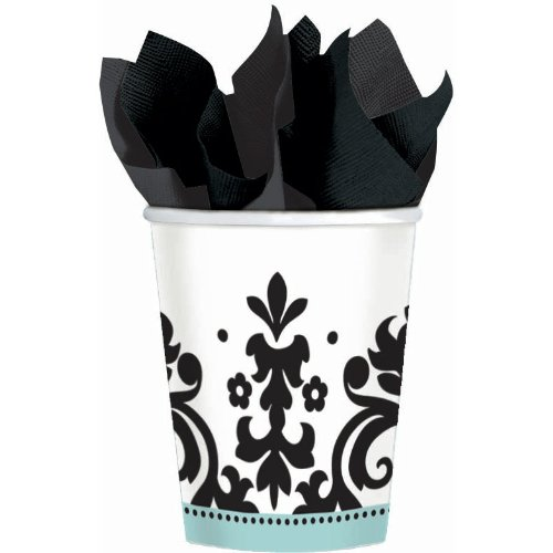 Amscan Always & Forever Paper Cups Party Supplies (8 Piece), 9 oz, Blue/White/Black