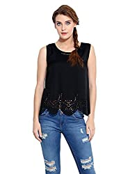 Black Laser Cut Blouse M
