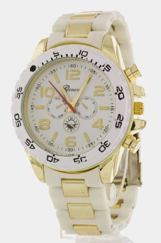 Chic Chelsea Oversize Chrono Watch (White)
