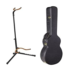 Amazon Com On Stage Gca5500b Vinyl Hardshell Guitar Case Basic Guitar Stand Black Musical