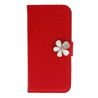 Hp Dfshiny Pu Full Body Case With Diamond Flower Button And Card Slot For Iphone 5/5S (Assorted Colors) , Black