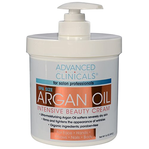 Advanced Clinicals Spa Size Pure Argan Oil Intensive Beauty Cream. Anti-aging Cream for Wrinkles and Dry Skin. 16oz Jar with a Pump. (Argan Oil Lotion compare prices)