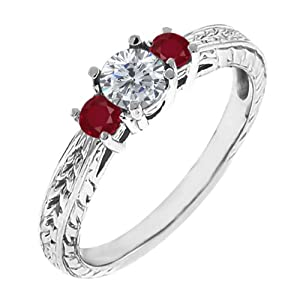 0.58 Ct Round G/H Diamond Red Ruby 18K White Gold 3-Stone Ring