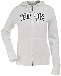 Chicago White Sox Applique Ladies Zip Front Hoody Sweatshirt (White) by Antigua