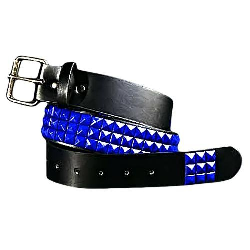 Bright Blue 3 Row Spiked Punk Grommet Belt Size X-Large