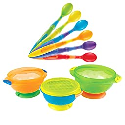 Munchkin 6-Pack Soft-Tip Infant Spoons with 3 Pack Stay-Put Suction Bowl Set