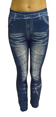 Women Ladies Stone wash Denim Jeans Look Leggings Slim Fit Jeggings 6 8 10 12