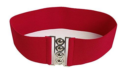 """Modeway®Women Fashion 3""""Wide Belt Elastic Stretch Waist Belt , Metal Buckle Waistband (XL-XXL,Red)A1-3"""
