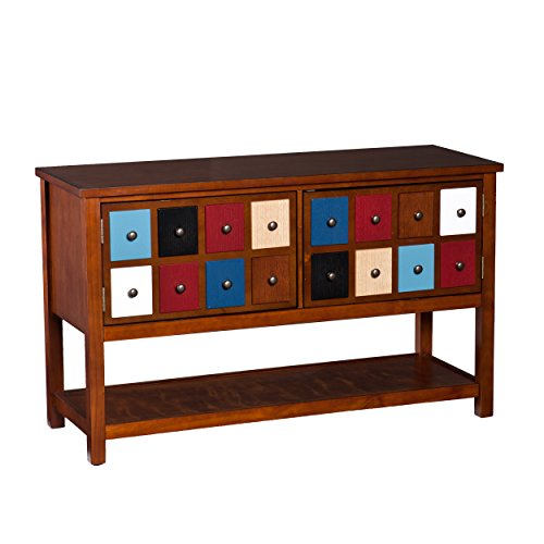 Southern Enterprises Oxnard Apothecary Console and TV Stand, Brown/Multicolor Southern Enterprises 2 Door Cabinet